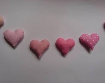 Felt garland hearts,  wool felt, newborn, christening, baby shower gift
