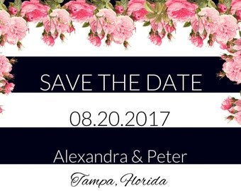 Floral Save the Dates, Save the Date, Wedding Save the Date, Save the Date printables, Bridal Shower Invites