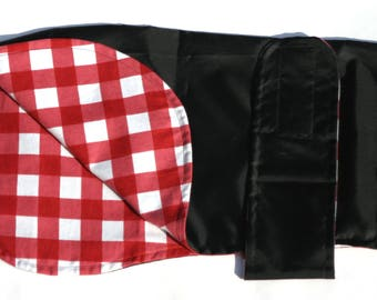 Black Showerproof Coat with Red Gingham Brushed Cotton Lining