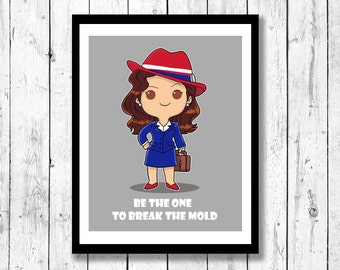 Peggy Carter (Agent Carter) Inspired Mini Motivational, kids room decor, superhero art