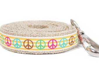 Dog collar / leash PEACE YELLOW