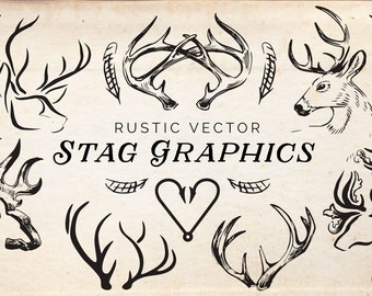 16 Rustic Stag Graphics - INSTANT DOWNLOAD - High Res, Vector, EPS, png, illustration, for weddings, logos and more