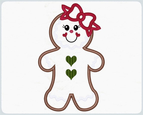 Applique Girl Gingerbread Embroidery Designs