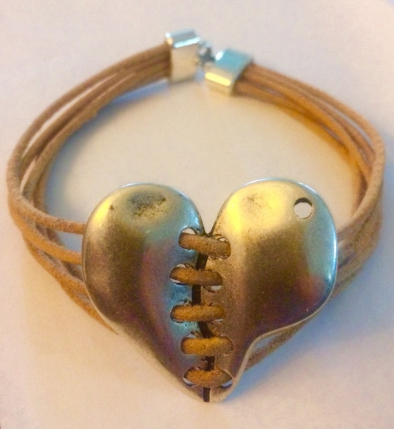 Tan Leather and Stitched Heart bracelet