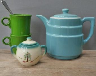 Vintage Hall China Art Deco Aqua Blue Teapot