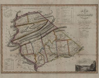 1818 Map of Dauphin & Lebanon County Pennsylvania