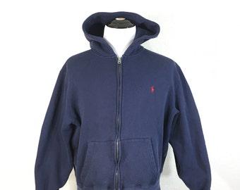 polo ralph lauren full zip up hoodie navy blue 80/20 cotton poly blend