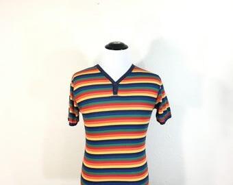 80's vintage rainbow striped henley v-neck t-shirt