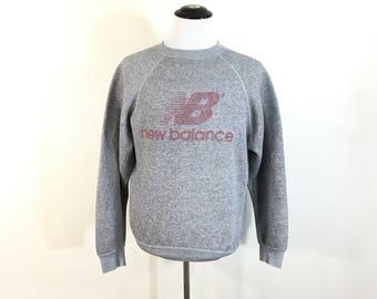 80's vintage new balance heather logo print gray sweatshirt