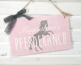 Lovingly personalized door sign name label for the children's room