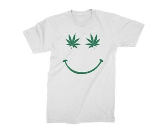 Cannabis Leaf Smiley Face - Mens T-Shirt