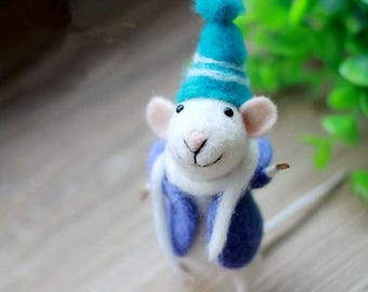 Mice wool felt needle felt diy kit