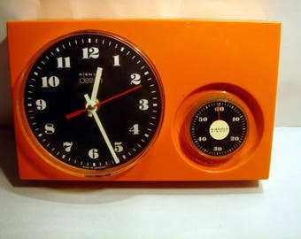 Vintage German Kitchen Plastic Wall Clock with Egg Timer - Kienzle
