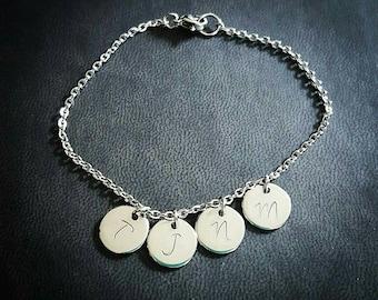 Personalized Mini Initial Bracelet, Hand Stamped Bracelet, Initial Charm Bracelet, Custom Jewelry