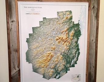 Barnwood frames with Adirondack Park relief map