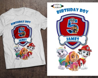 Paw Patrol Iron On Transfer. DIY Paw Patrol Birthday Shirt. Iron On Transfer. Paw Patrol Birthday Shirt. DIGITAL FILE. Paw Patrol clothing
