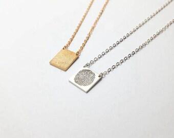 Fingerprint Necklace, Silver Fingerprint Pendant, Custom Fingerprint Necklace, Gold Signature Necklace, Finger Print Necklace