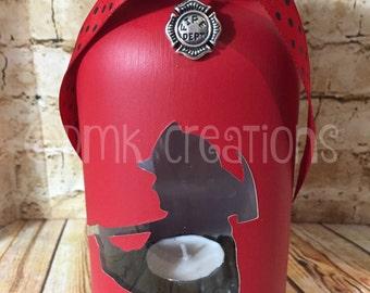 Firefighter Painted Mason Jar Tea Light Candle Holder, firefighter, fireman, fire, mason jar, painted mason jar, tea light candle, candle