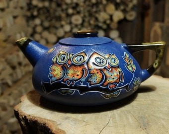 Owl teapot Clay teapot Ceramic pottery Blue teapot Wife gift Mom gift|for|men Housewarming gift Ceramic birds Tea lover gift ornithology