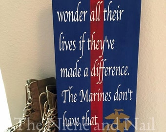USMC Decor, Marine Corps Sign, Retirement Gift, Rustic Military Decor, Gift for Him, Gift for Her, Ronald Reagan Quote, Military Gift