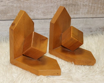 2 bookends of bookends bright wood cube 60s mid century vintage 1 pair