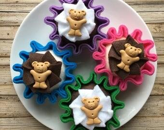 felt cupcake, play food cupcake, play kitchen cake, felt food, cupcake, play cakes