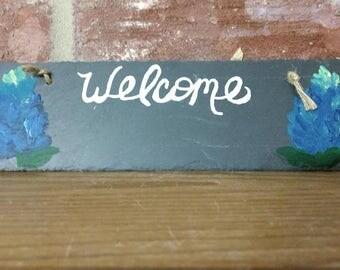 slate bluebonnet welcome sign