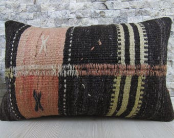 Natural kilim pillow 12x20 organic pillow decorative pillow organic pillow floor cushion tribal pillow throw pillow