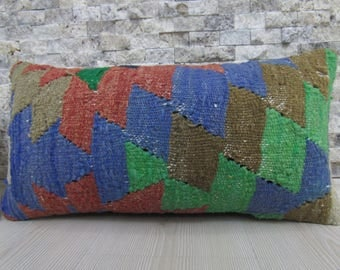 faded color decorative pillow 10x20 kilim pillow handwoven vintage turkish kilim rug throw pillow kilim pillow 10x20 floor cushion kilim rug