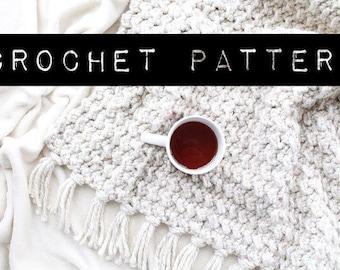 "CROCHET PATTERN//The ""Breckenridge"" Blanket Pattern/afghan/couch blanket/crochet/wool throw"