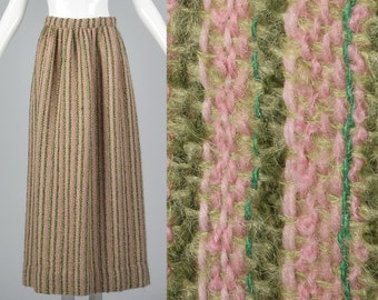 Small 1970s Tweed Maxi Skirt 70s Hippie Maxi Skirt Boho Maxi Skirt Wool Mohair Stripe Skirt Pink Green Winter Maxi Skirt Vintage