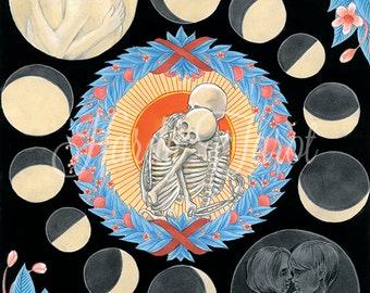 Lovers Tarot Print - Art Print, Lovers Tarot, Hardy Tarot, Major Arcana, Poster, Art Print, Skeleton, Moon Phases, Love, Romantic Art