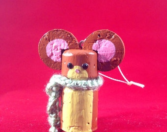 Cute Mouse Cork Ornament for Christmas!