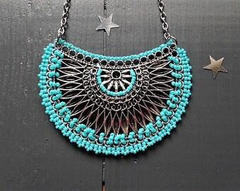 Ethnic style pendant / turquoise