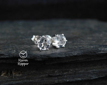 Natural white topaz gemstone earrings, 5mm, in a sterling silver setting, sleepers earrings. 144