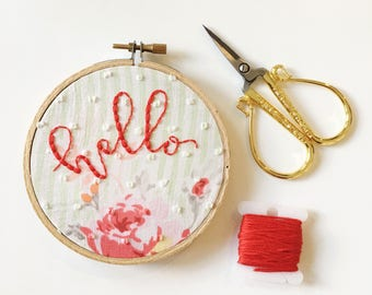 Hello Sign/Embroidery Hoop Art/Embroidered Wall Art/Welcome Wall Decor