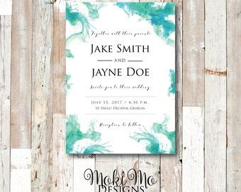 Custom Blue/Aqua Watercolor Wedding Invitation