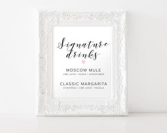 Signature Drinks, Signature Wedding Drink Sign, Wedding Drink Sign, Printable Signature Drink, Customizable Drink Menu, Printable Wedding