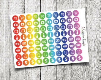Rainbow Spectrum Planner Sticker Icons