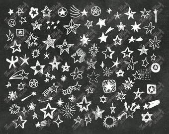 Hand Drawn Doodle Stars Scrapbook Clipart, Stars Photoshop Overlays, Hand Drawn Overlays,Digital Scrapbook,Doodle Stars Clipart