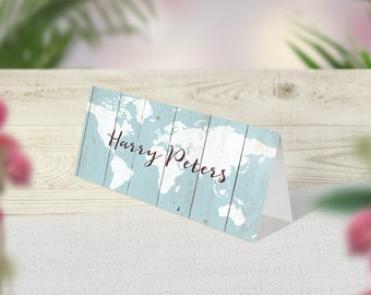 Rustic Wedding Place Cards, Guest Names, Table Decor, Wood Place Setting, Party Decoration, Boho Signs, Vintage Wedding Day, Blue Tent Cards