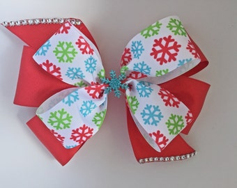 SNOWFLAKES Hairbow, WINTER hairbow, CHRISTMAS hair-bow, girls,baby, hairbow, beautiful red Christmas, snowflake, hairbow