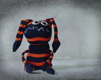 Monster looking for new home! Grumpy socks doll, puppet, handmade gift. Odd socks stuffed creature. Toy monster and handmade gift