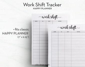 Work Shift, Happy Planner, Work Planner, Printable Planner, Weekly Planner, MAMBI, Work Schedule, Daily Planner, Work Printable, Work