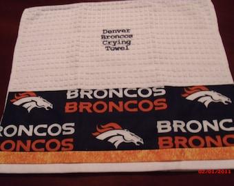 Denver Broncos Crying Towels, Growl Towels, Terrible Towels, Cheer Towels, Gag Gift, Football Crying Towel