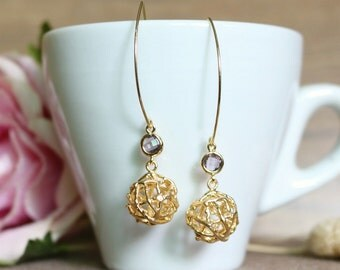 Wire ball drops earrings, Dangle & Drop Earrings, Wedding Jewelry, Gift for her, Valentine's Day Gift, clip on earrings