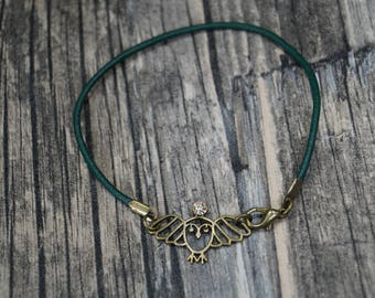 Leather Bracelet OWL with Rhinestone