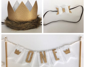 Limited Edition Wild Things Gold White Fur Crown Bunting Set, Wild One 1st Birthday Faux Leather Wild One Crown, Cake Bunting, and Matching