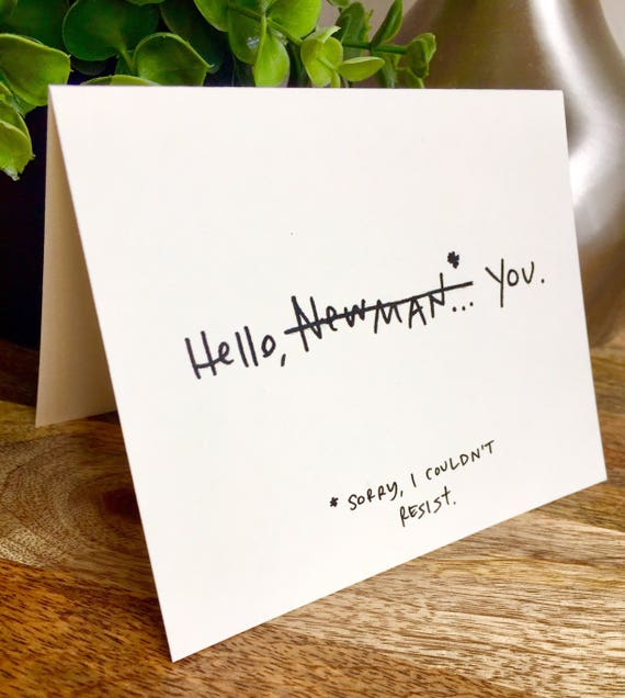 Hello Newman Hello Card, Seindeld cards, Hand Lettered Thank You Card Set, Bulk Note Cards hello, seinfeld funny card