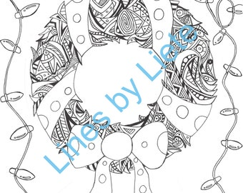 Christmas Wreath PDF Printable Adult Colouring Page Coloring Color In